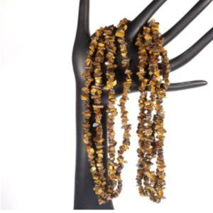 Chunky Tiger's Eye Gemstone Brown Long Necklace